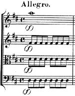 Première mesure de l'allegro du divertimento kv136 de Mozart