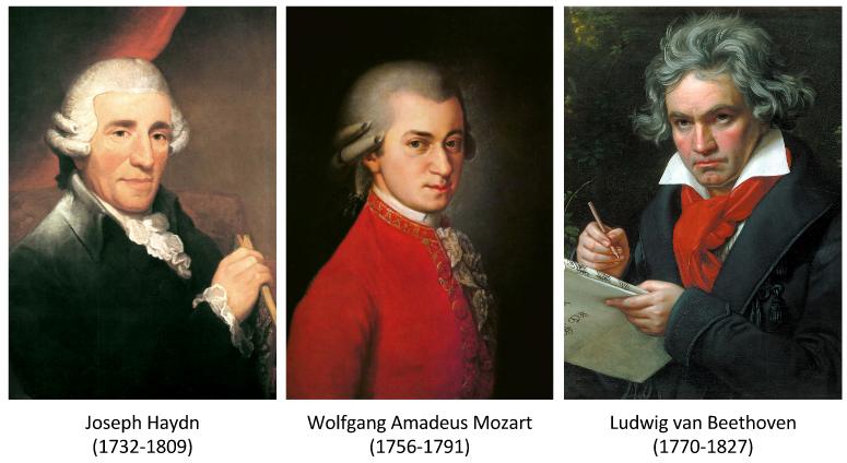 Les 3 grands compositeurs de la période classique