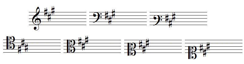 armure avec trois dièses, en clef de SOL, dans les deux clefs de FA et dans les quatre clefs d'UT