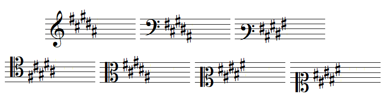armure avec cinq dièses, en clef de SOL, dans les deux clefs de FA et dans les quatre clefs d'UT