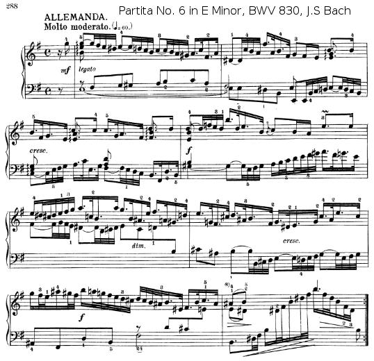 Mouvement l'Allemande de la Partita N°6 en MI mineur BWV 830 de J.S. BACH