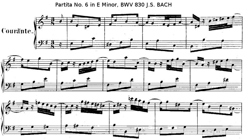 Mouvement Courante de la Partita N°6 en MI mineur BWV 830 de J.S. BACH