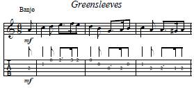 banjo, extrait de la partition greensleeves
