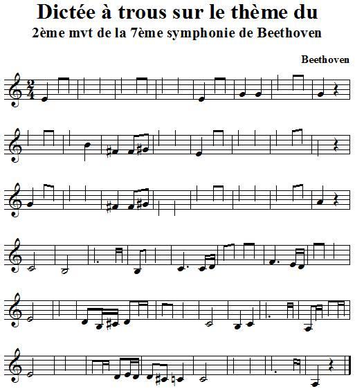 Dictée à trous sur le thème du 2ème mvt de la 7ème symphonie de Beethoven