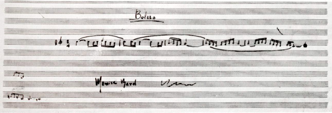 Manuscrit signé de Maurice Ravel reproduisant les cinq premières mesures du Boléro, Entre 1928 et 1932.