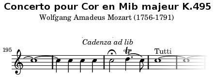 cadence concerto cor Mozart