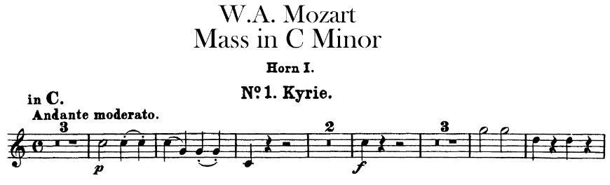 Exemple de transposition à vue en clef de FA troisième ligne par un corniste