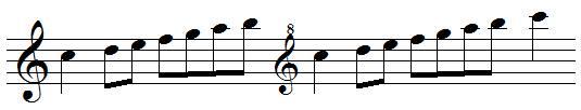 clefs de sol octaviées, exemples