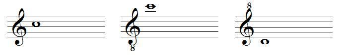 clefs de sol octaviées