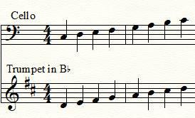 Correspondance violoncelle et trompette en sib