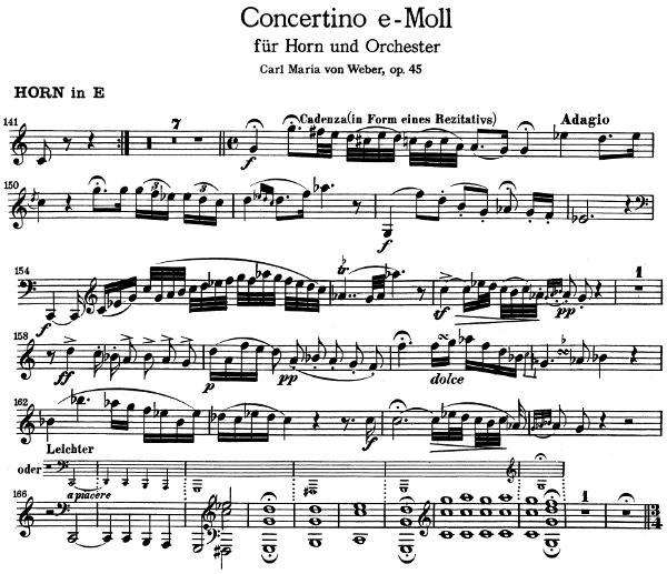 concertino en Mi mineur pour Cor de Carl Maria von Weber