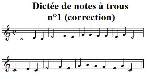 Dictée de notes à trous n°1 - correction