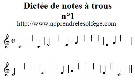 Dictée de notes à trous n°1
