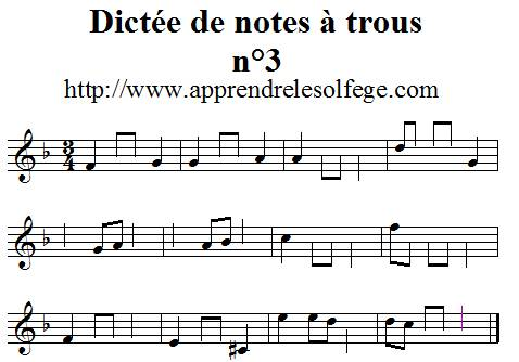 Dictée musicale de notes à trous n°3