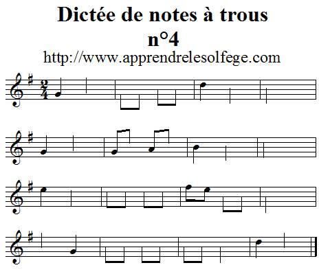 Dictée musicale à trous n°4