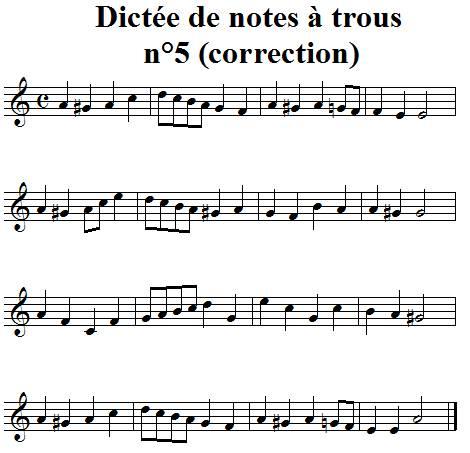 Dictée musicale à trous n°5 - correction
