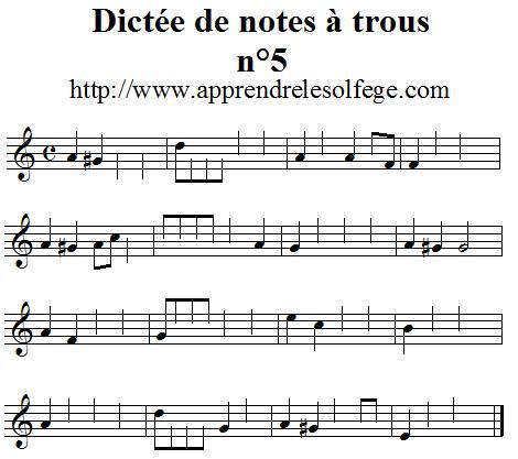 Dictée musicale à trous n°5