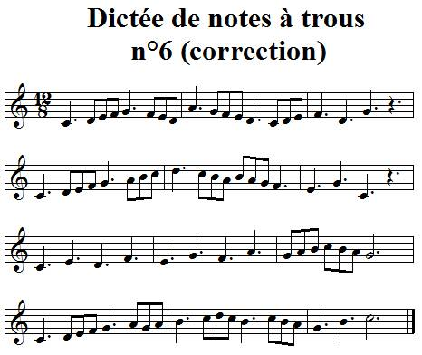 Dictée musicale à trous n°6 - correction