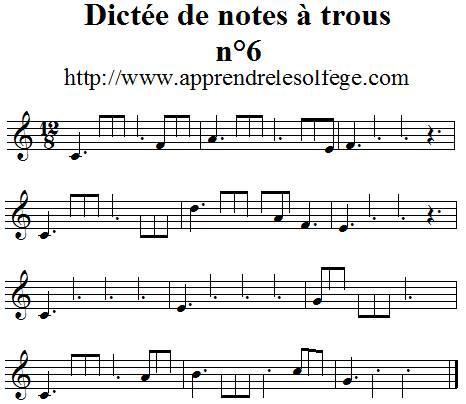 Dictée musicale à trous n°6