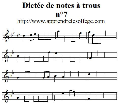 Dictée de notes à trous n°7