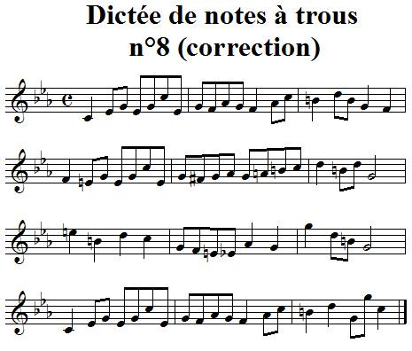 Dictée musicale à trous n°8 correction