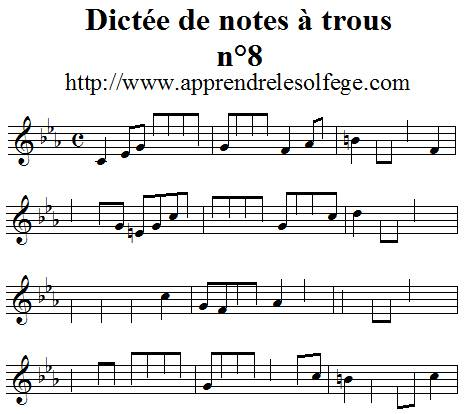Dictée de notes à trous n°8