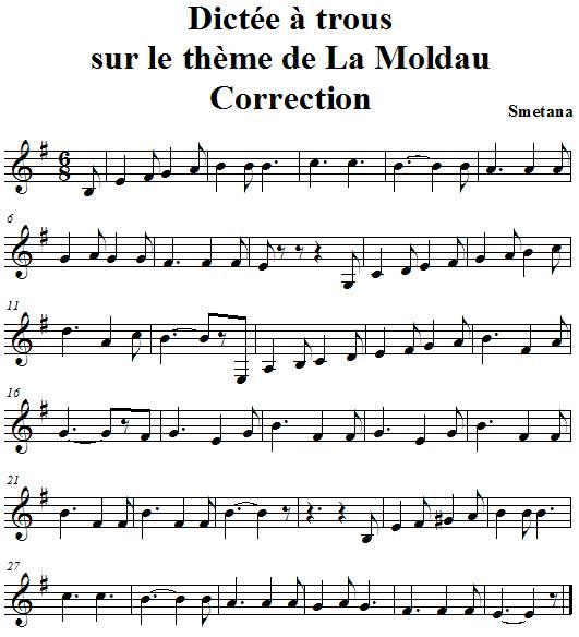 Dictée de notes à trous sur le thème de la Moldau de smetana - correction
