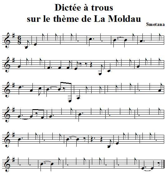 Dictée de notes à trous sur le thème de la Moldau de smetana