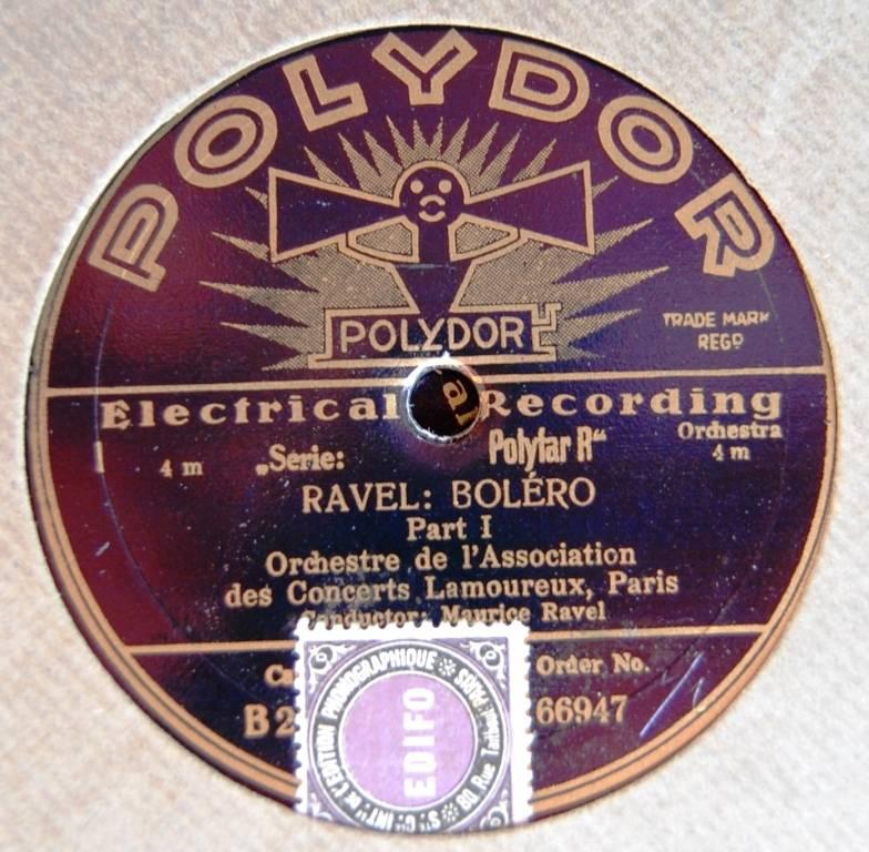 Premier enregistrement du Boléro édité par Polydor en 1930, Maurice Ravel dirigeant l'orchestre de l'Association des Concerts Lamoureux.