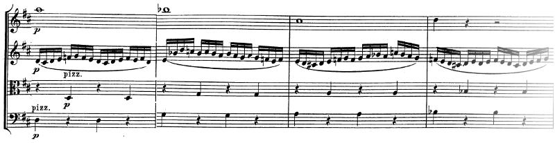 Divertimento K136 de Mozart, allegro, développement, partie 2