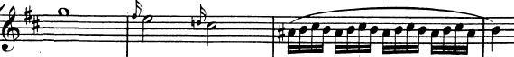 Divertimento K136 de Mozart, allegro, développement, thème A en Si mineur
