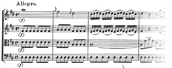 Divertimento K136 de Mozart, allegro, exposition, thème A