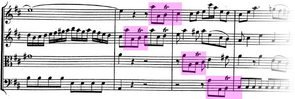 Divertimento K136 de Mozart, allegro, exposition, thème B et entrées en imitation