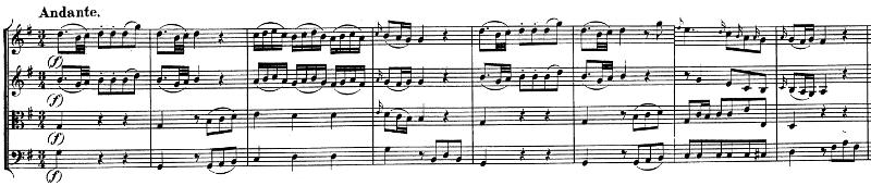 Divertimento K136 de Mozart, andante, exposition, thème A