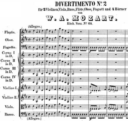 Nomenclature du divertimento k131 de Mozart