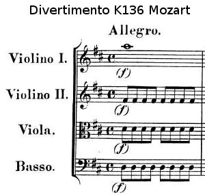 Nomenclature du divertimento k136 de Mozart