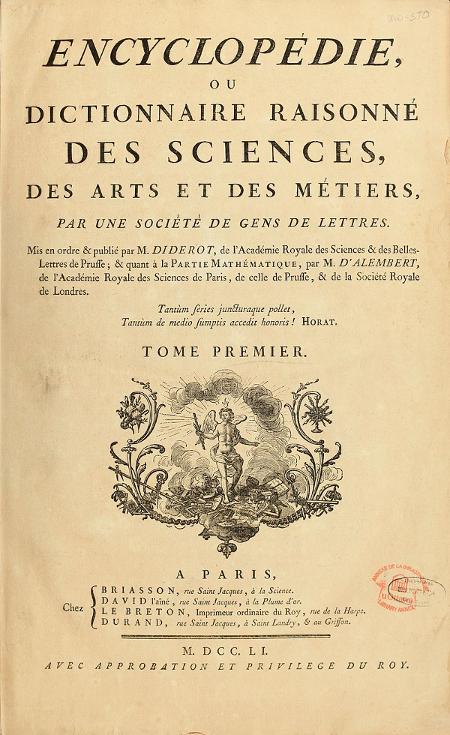 l'Encyclopédie ou Dictionnaire raisonné des sciences, des arts et des métiers (1751-1772) de Diderot et D'Alembert