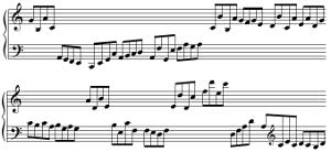 En croches, (de C2 à E4 pour la main gauche et de G3 à E6 pour la main droite)