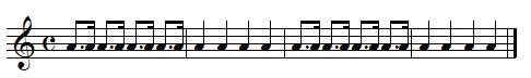 Exercice de rythme, croche pointée et double-croche