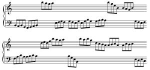 En croches, (de F2 à C4 pour la main gauche et de C4 à C6 pour la main droite)