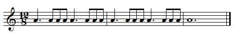 Exercice rythmique, Noires pointées et croches en ternaire