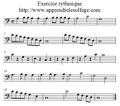 Exercice rythmique binaire 1 FA 4