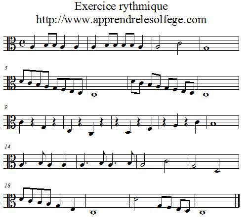 Exercice rythmique binaire 1 UT 3