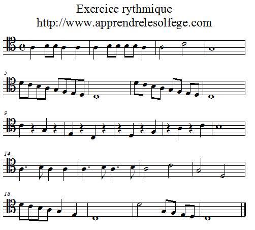 Exercice rythmique binaire 1 UT 4