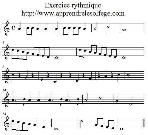 Exercice rythmique binaire 1