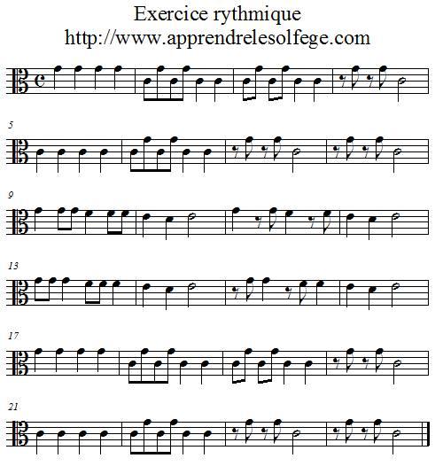 Exercice rythmique binaire 2 ut3