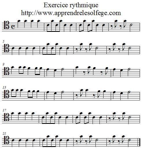 Exercice rythmique binaire 2 ut4