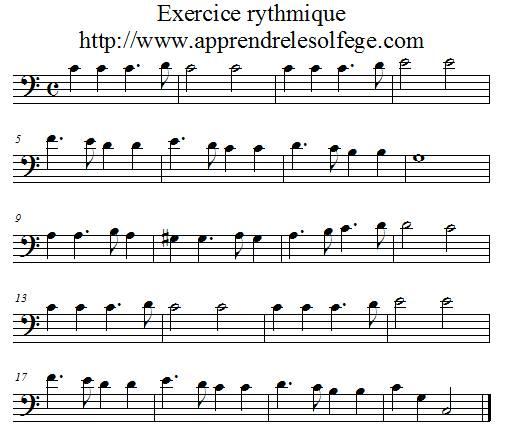 Exercice rythmique binaire 3 FA 4