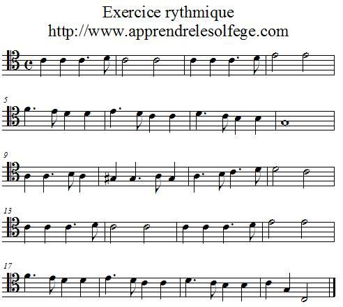 Exercice rythmique binaire 3 ut4