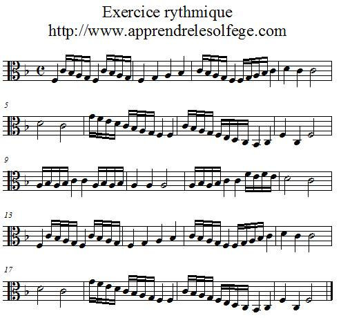 Exercice rythmique binaire 4 ut3